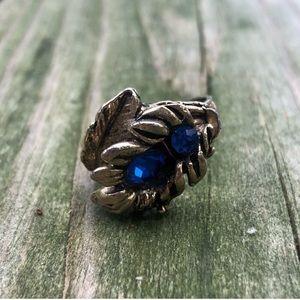 Vintage Gold Tone Floral Adjustable Ring Blue